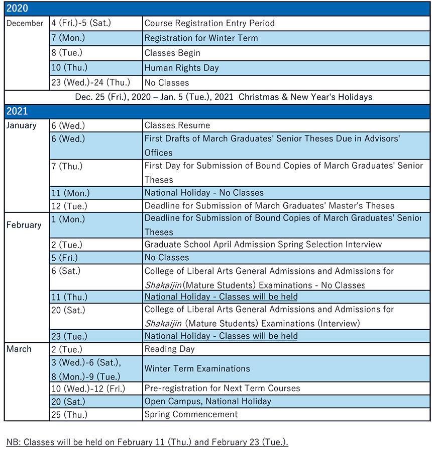 Cu Academic Calendar Fall 2021 Academic Calendar|ICU   INTERNATIONAL CHRISTIAN UNIVERSITY