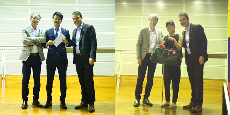 岩山凌也さん(写真左・中央)と大下歩さん(写真右・中央)